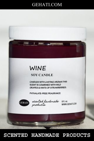 The Wine soy candle has a sweet aroma of wild grapes enhanced with hints of strawberries. It'll make you feel like you're sipping on a glass, perhaps while reading a good book!