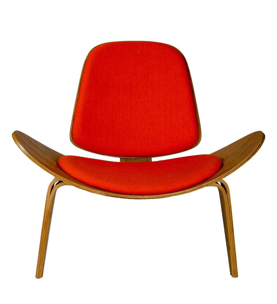 Hans Wegner Shell Chair Ash Wood Red Cashmere