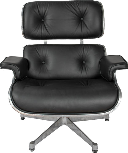 Eames Style Aviator Lounge Chair & Ottoman Real Italian Leather