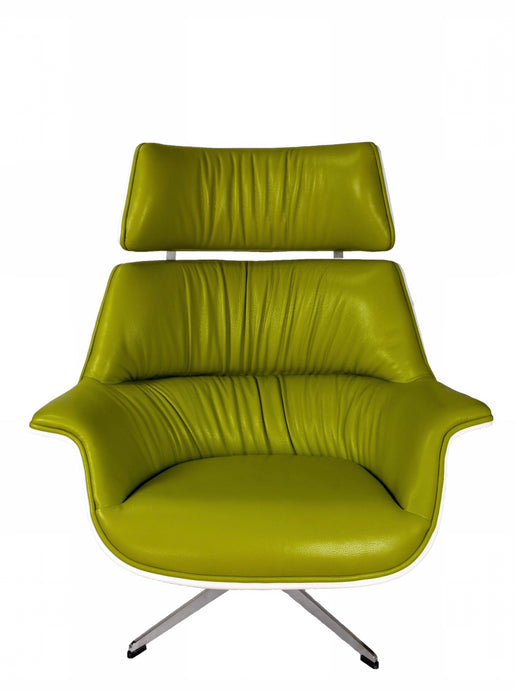 Arne Jacobsen Style Lounge Chair Italian Leather