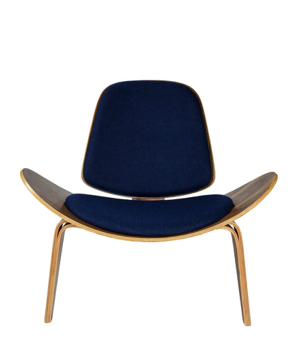 Hans Wegner Shell Chair Walnut Wood Navy Cashmere