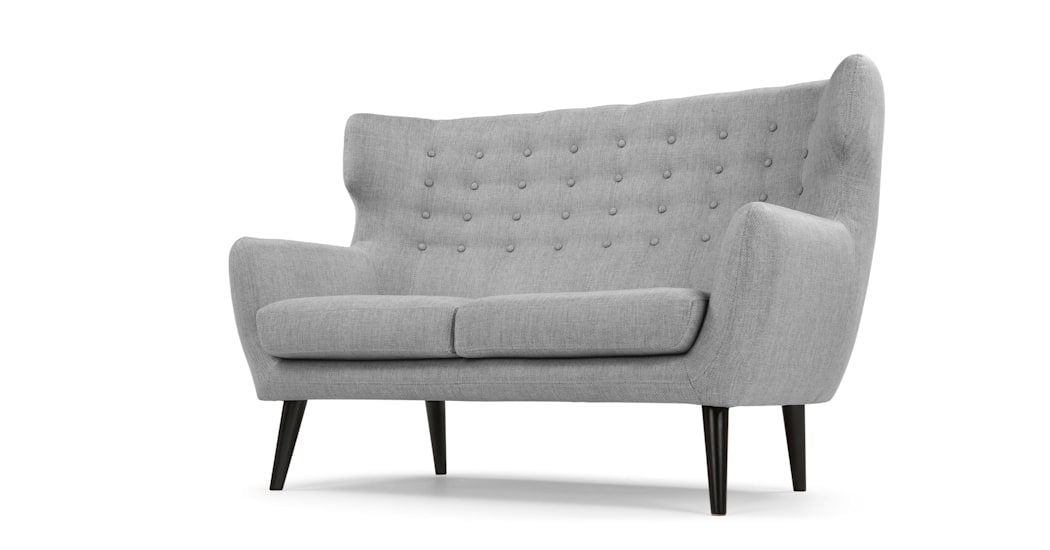 Kubrick Wing Back Two Seater Sofa Pearl Grey