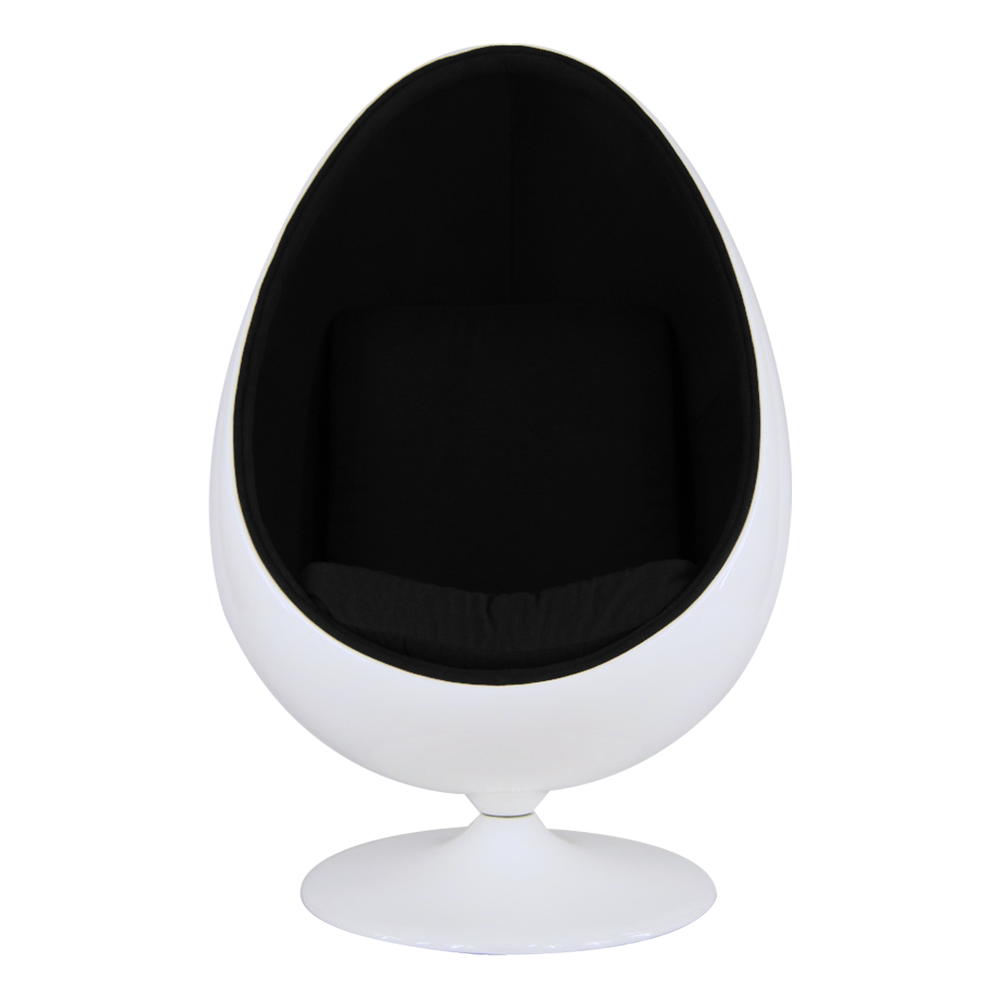 Eero Saarinen Style Egg Pod Chair Retro Funky White Shell Black Faux Leather Interior