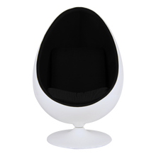 Load image into Gallery viewer, Eero Saarinen Style Egg Pod Chair Retro Funky White Shell Black Faux Leather Interior