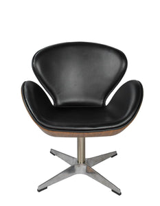 Arne Jacobsen Inspired Swivel Chair Wood Vaneer Black Faux Leather