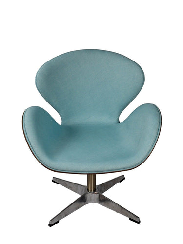 Arne Jacobsen Inspired Swivel Chair Wood Vaneer Liner Fabric Blue