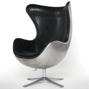 Arne Jacobsen Inspired Spitfire Egg Chair Aluminium Black Faux Leather