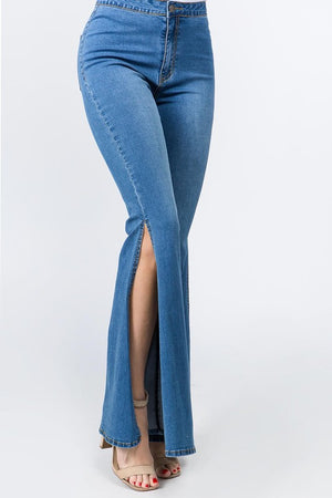 High Waisted Flare leg with slit