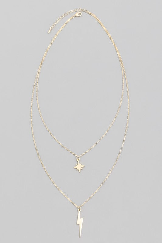 Layered lightning and star necklace