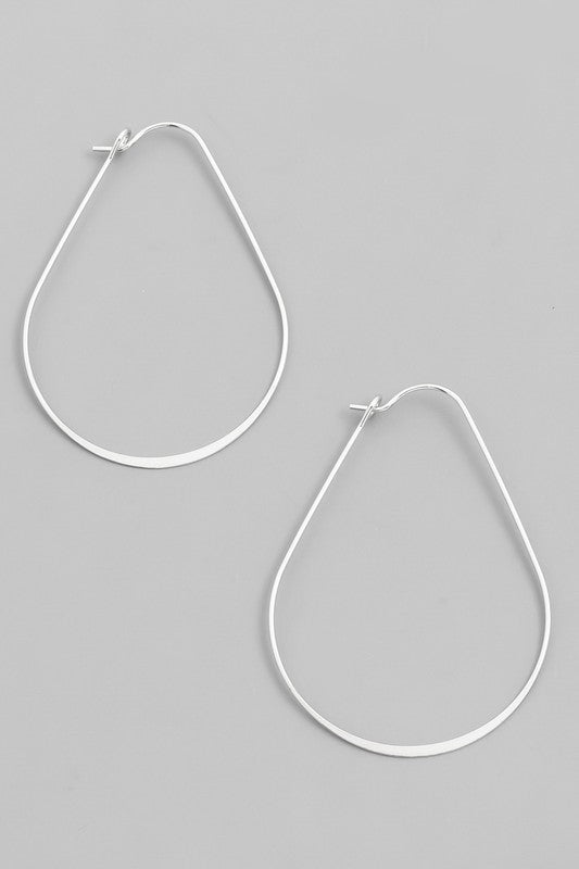Oval Teardrop hoop earrings