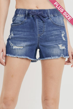 Plus - High-Waist Elastic Distressed Denim
