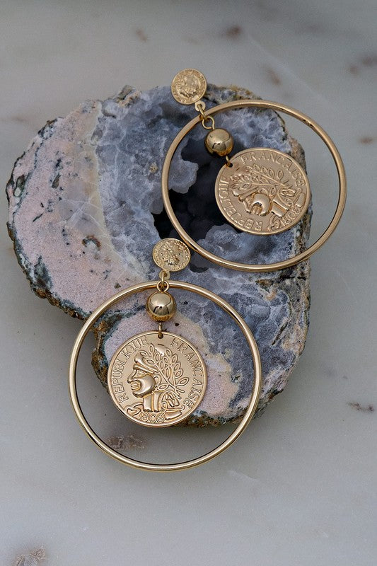 Hoop Coin Dangle Earrins