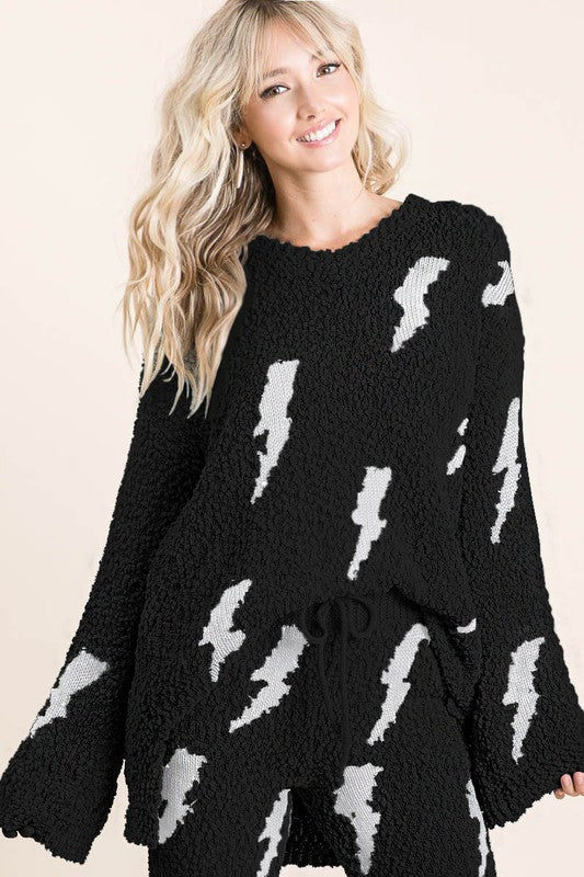 Oversized Popcorn Lightning Bolt Sweater