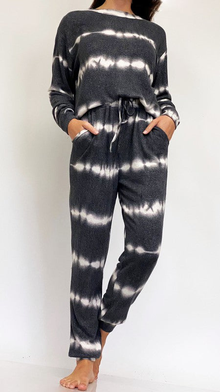 Black Wave Tie Dye Lounge Set