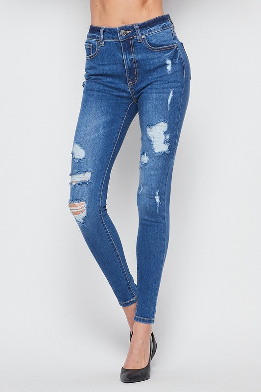 High Waisted Stretch Distressed denim