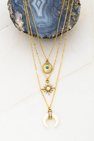 Three layered charm necklace