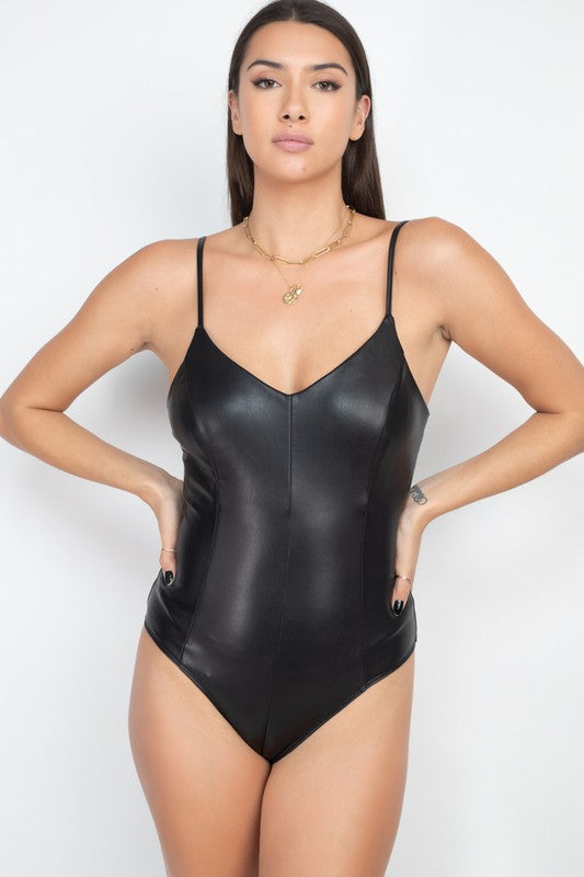 Vegan Leather Bodysuit