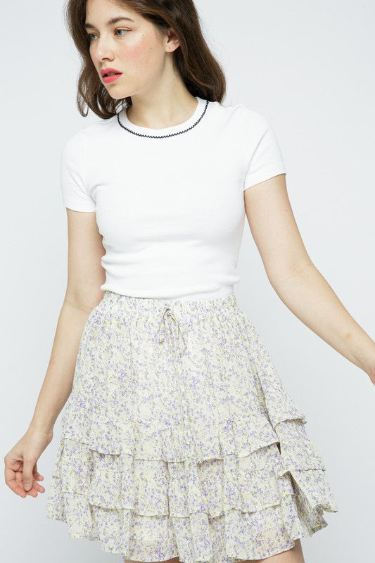 The Becca Floral Ruffle Skirt