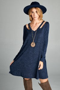 Boho Cold Collar Sweater dress