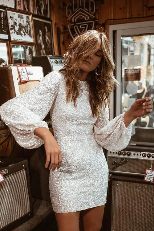 white hot Sequin Balloon Sleeve Mini Dress