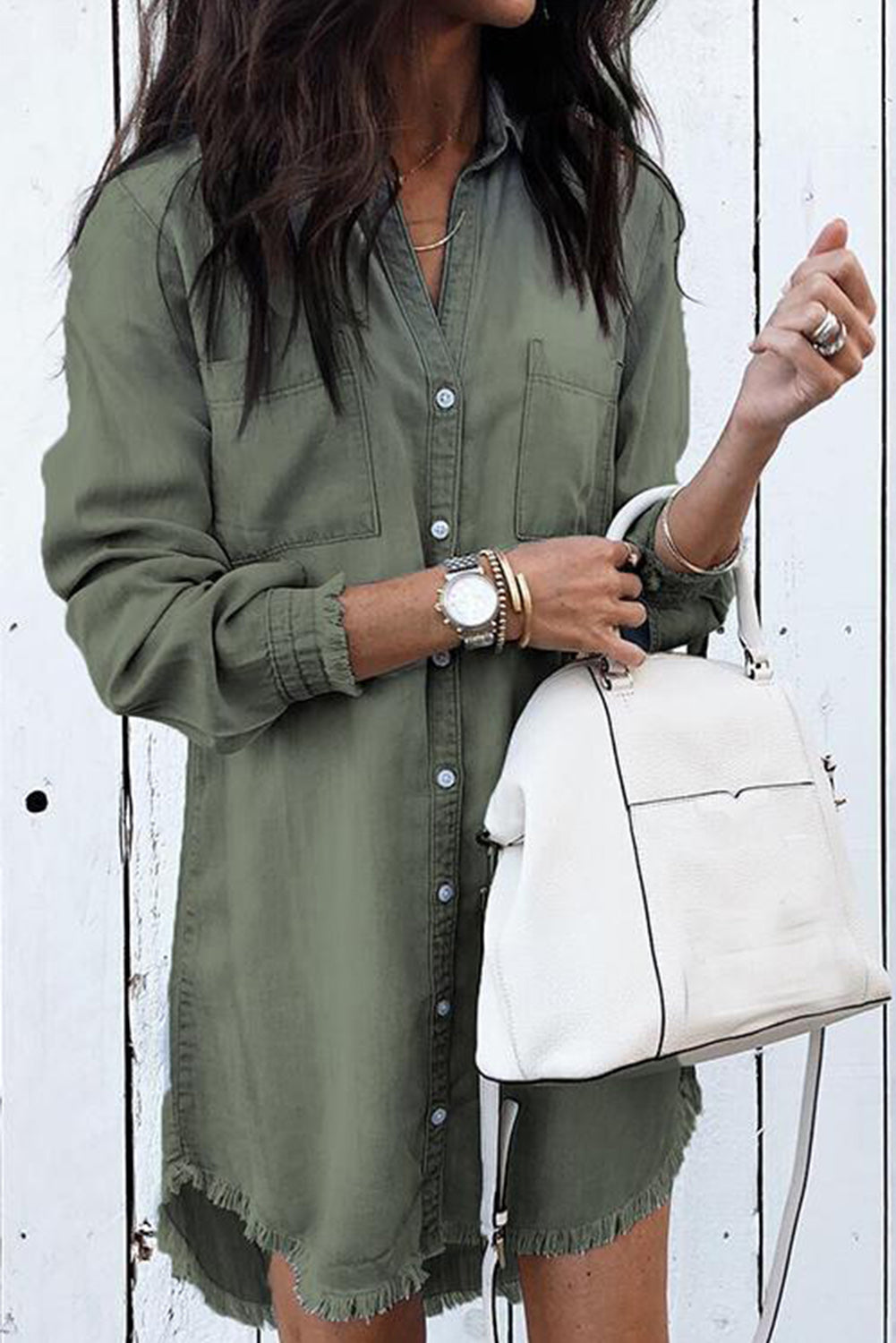 Green Denim Shirt Dress