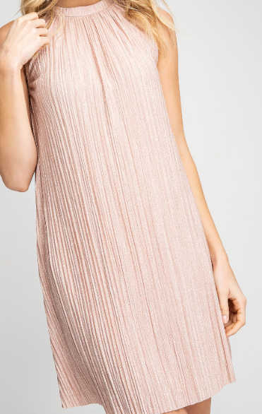 High Neck Sleeveless Dress - Dusty Rose