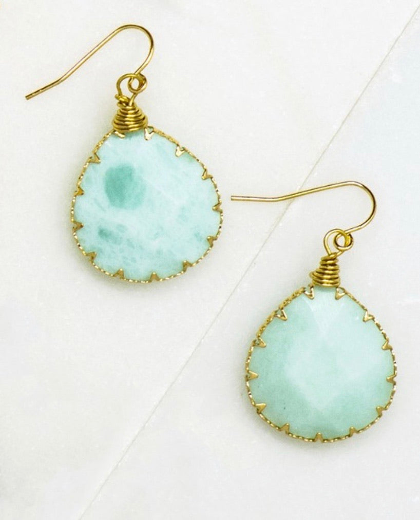 Delicate teardrop stone earrings