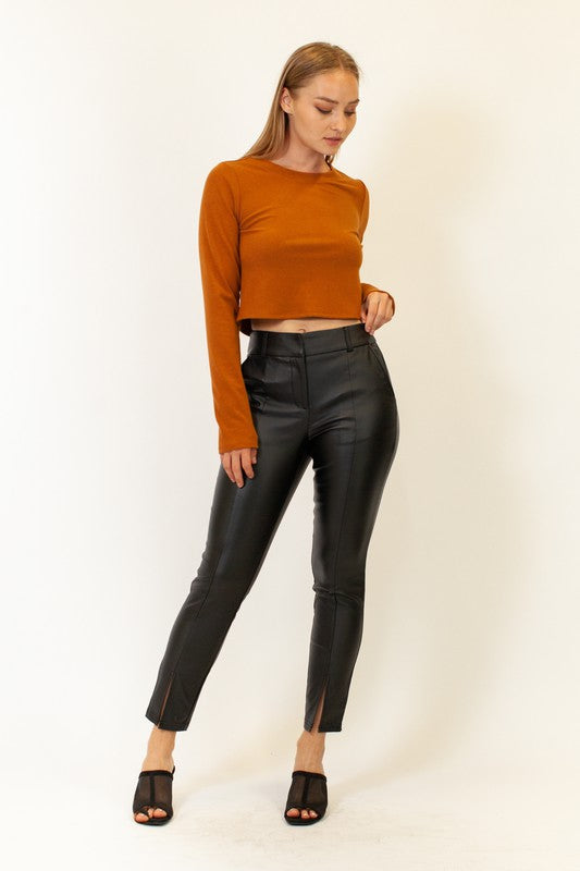 Leather cropped pants with slit
