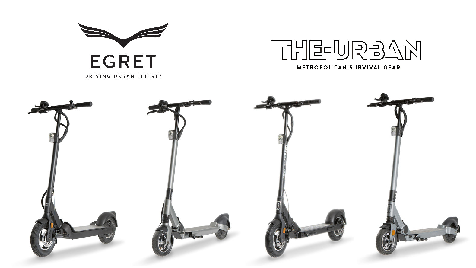 2 Egret Scooter und 2 THE-URBAN Scooter nebeneinander