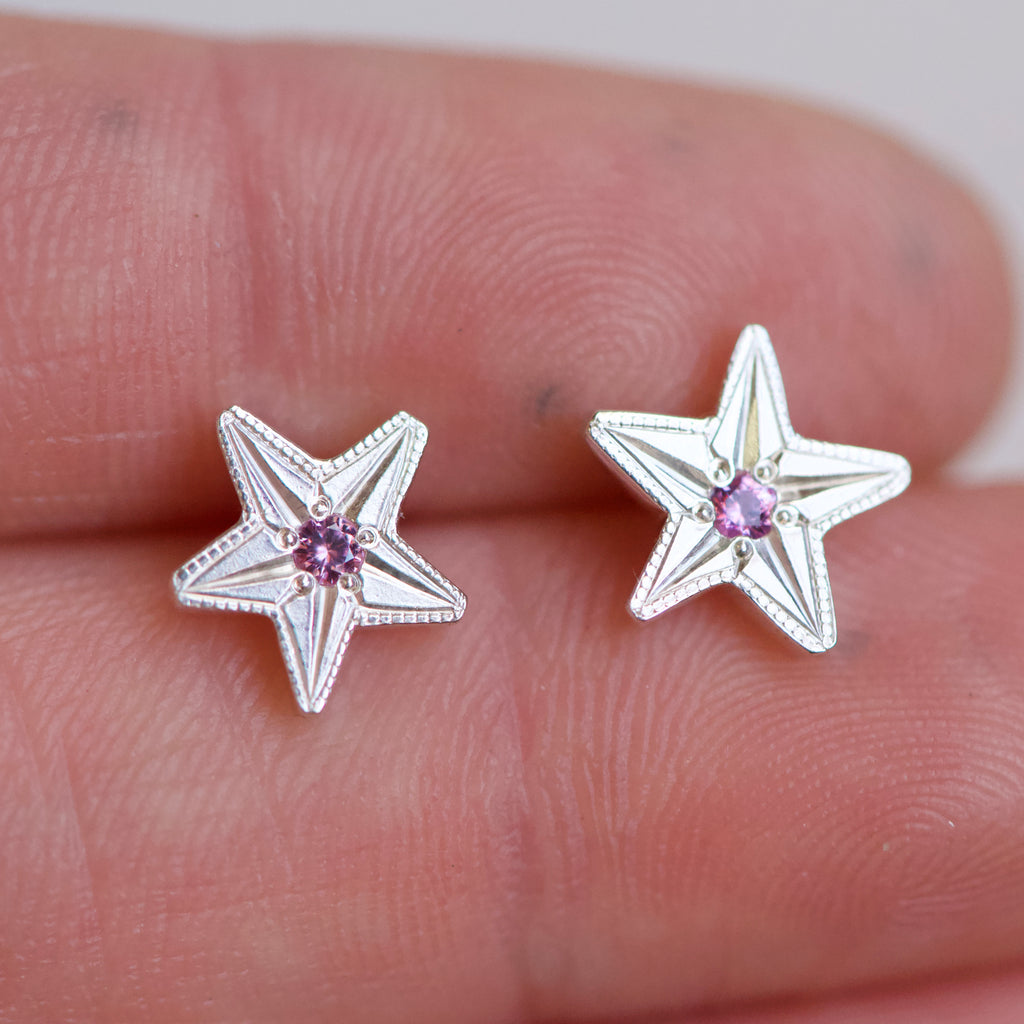 Star Engraved Pink Sapphire Studs