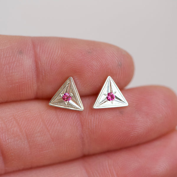 Triangle Engraved Pink Sapphire Studs