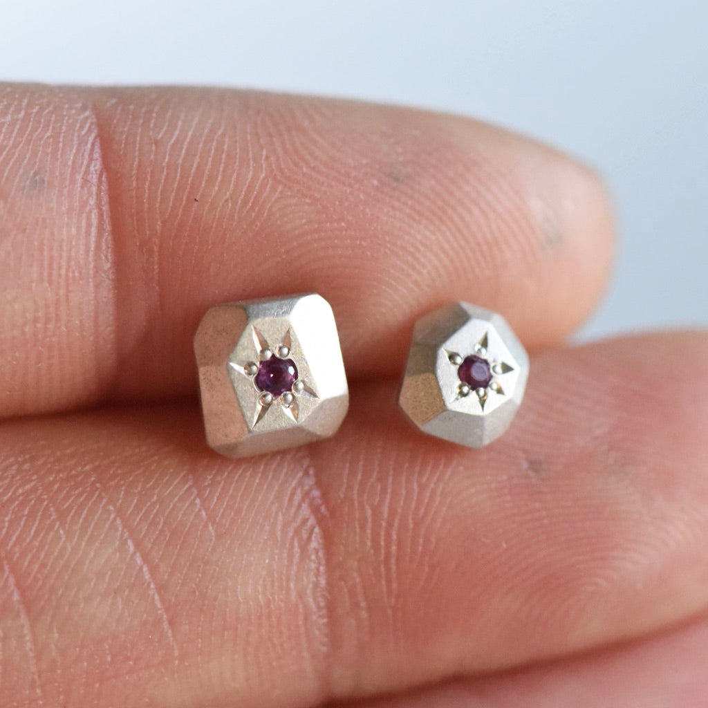 SAMPLE RHODALITE STUDS