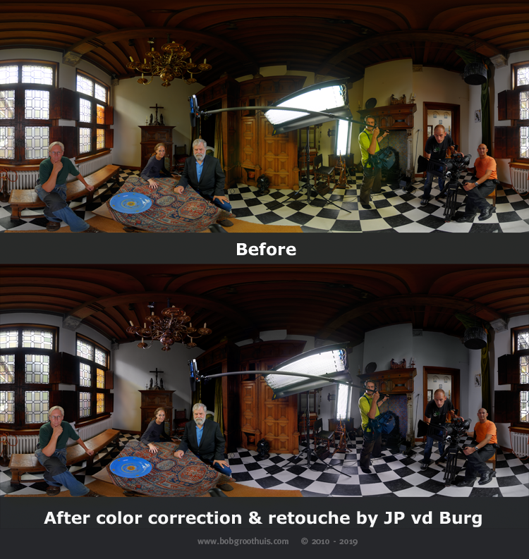 Before/After color correction - HDRI panorama portret recording from Tim's Vermeer film crew - Part 3 - the (close) Encounters Project