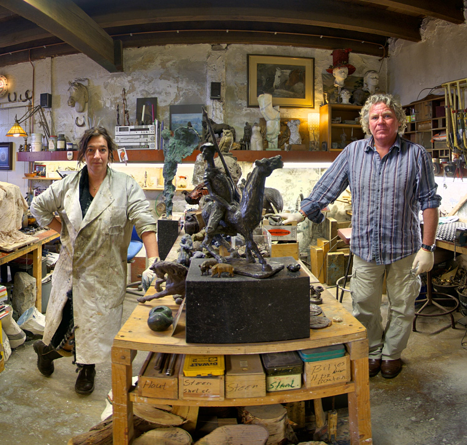 The (close) Encounters Project - Part 07 - Ron & Nathalie - Bronzefoundry & ArtGallery De Paardenstal - The Horse Stable - HDR Panorama portrait  - Close