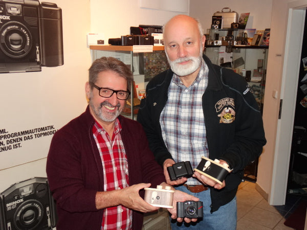 Reinhard Lörz (MINOX Club member and owner of the MINOX Museum) & Peter Baum (Visitor and MINOX Club member)