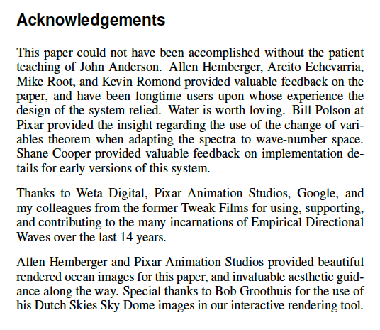 "Acknowledgements - excerpt from the ""Empirical Directional Wave Spectra for Computer Graphics"" Paper by Chris Horvath"