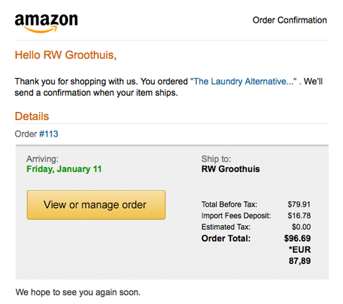 Amazon Wonderwash ordering cost shipping to the Netherlands