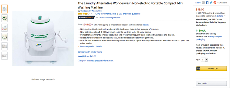 Amazon Wonderwash non-electric portable compact mini washing machine