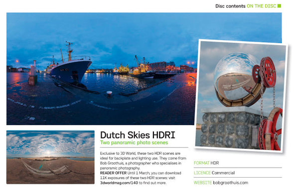 Dutch Free 360° HDRI – 019 | Early morning Harbour scene published in the 3DWorld magazine issue 140 (2011) - Article