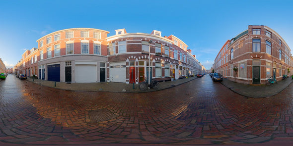 Dutch Free 360° HDRI – 001 | Street scene with cars panoramic version 001a