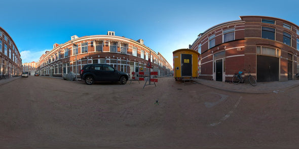 Dutch Free 360° HDRI – 001 | Street scene with cars panoramic version 001b