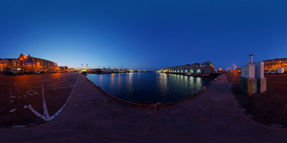 Dutch Free 360° HDRI – 002 | Harbour scene with boats panoramic version 002d