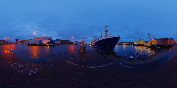 Dutch Free 360° HDRI – 019 | Early morning Harbour scene panoramic version