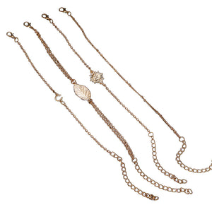 4pcs Women Bracelets Anklets Set Simple Stylish Chains of Sun and Leaf Bracklet & Anklet Jewelry Accessories