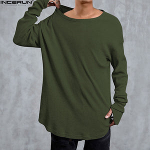 Hip Hop Curved Hem Long Sleeve T-Shirts Mens Solid Extended Swag Top Tees Male Knitted Longline Tshirts Fashion Streer Wear Tops