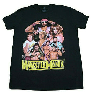 WWE WRESTLEMANIA LEGENDS T-SHIRT BLACK RETRO MENS WRESTLER 90S TEE