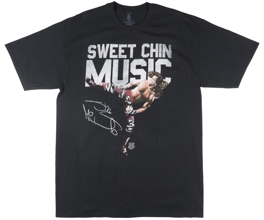 WWE Sweet Chin Music Short Sleeve Shirt Graphic Tee Wrestle Top Retro Mens Black  100% cotton tee shirt,  tops wholesale tee