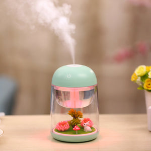 LED Night Light with 180ml Micro Landscape Humidifier Ultrasonic USB Mini Air Purifier Nebulizer