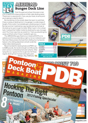 Pontoon and Deckboat Magazine tests the Airhead Bungee Dock Line in April Issue