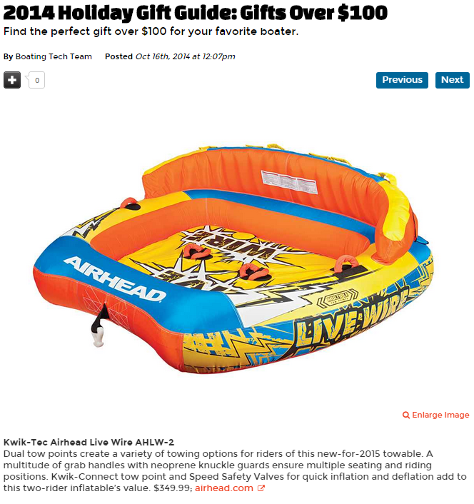 Boating Magazine features Airheads new Live Wires  in 2014 Holiday Gift Guide.